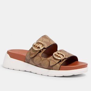 $128 NEW!! COACH Khaki/Saddle Gable Sandal